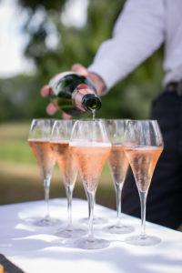 A glass of English Sparkling Rosé